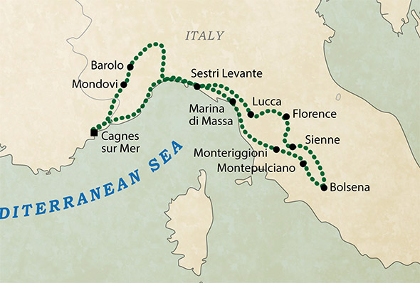 Colours of Tuscany Guided Motorcycle Tour Map