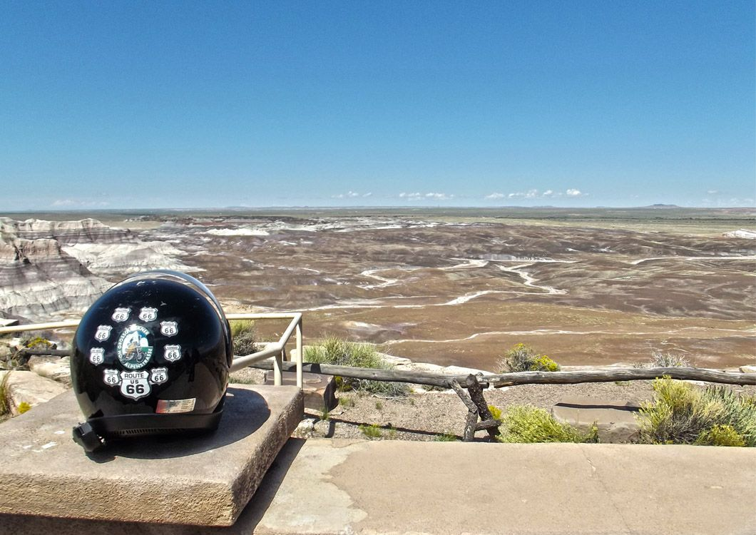 motorcycle helmet with a great american landscape