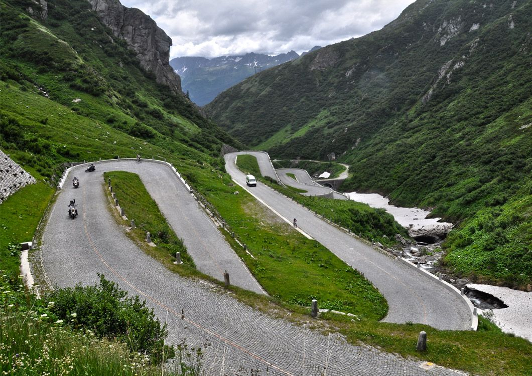 Alpine pass with motorcycles - Route of the Alps