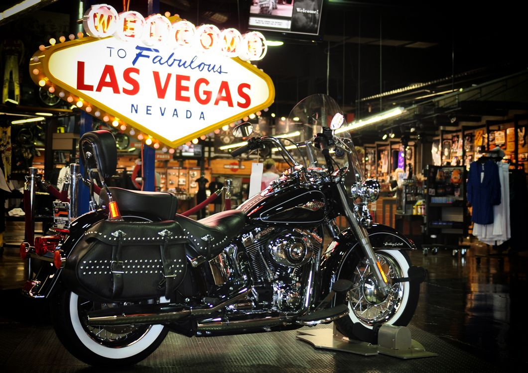 Las Vegas lightsign with harley motorcycle in front