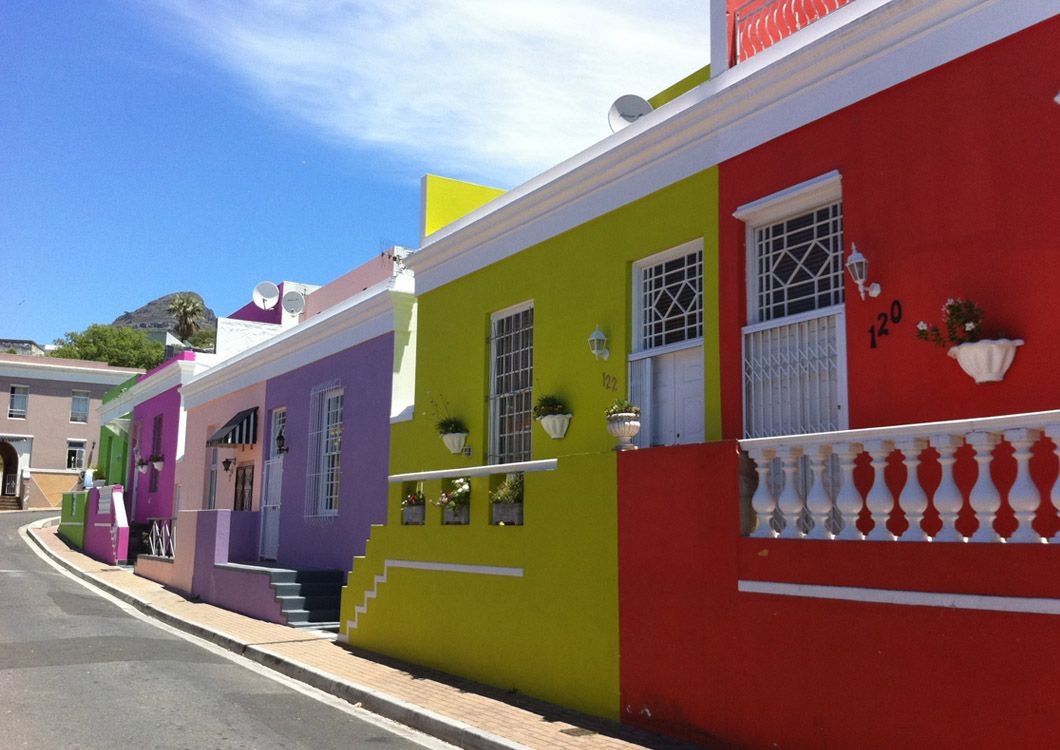 colorful houses of the bo-kaap suburb of cape town