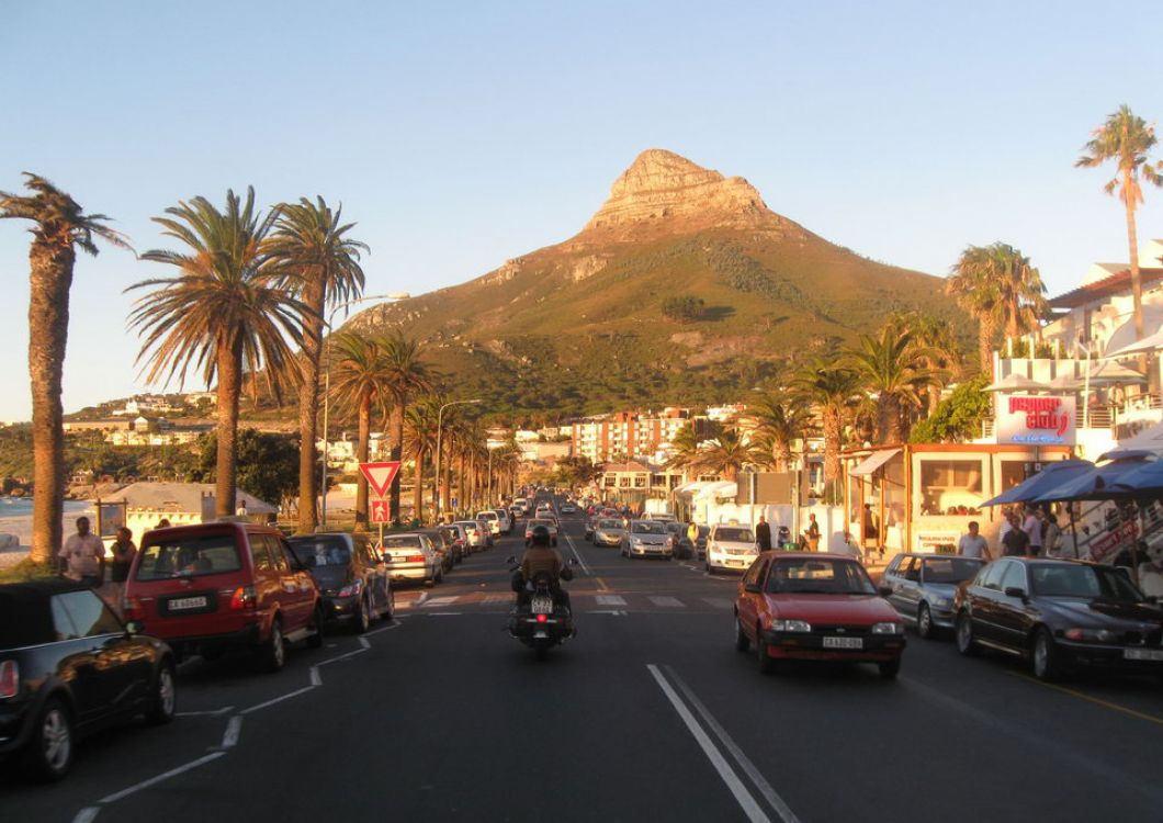 cape town road with lion's head in the background